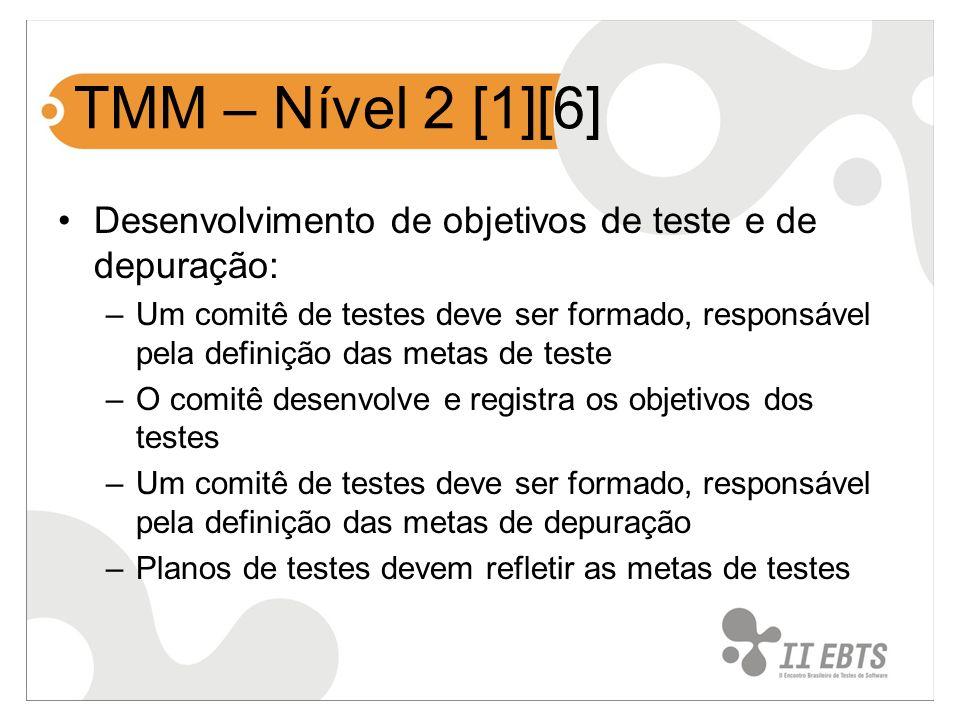 TMM – Nível 2 [1][6] Desenvolvimento de objetivos de teste e de depuração: